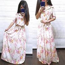 Сукня сорочка в підлогу з поясом і коміром, фото 3