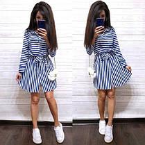 Платье рубашка в полоску с воротником софт, фото 2