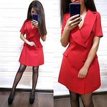 Платье пиджак на запах костюмка с карманами и декольте, фото 3