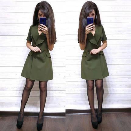 Платье пиджак на запах костюмка с карманами и декольте, фото 2