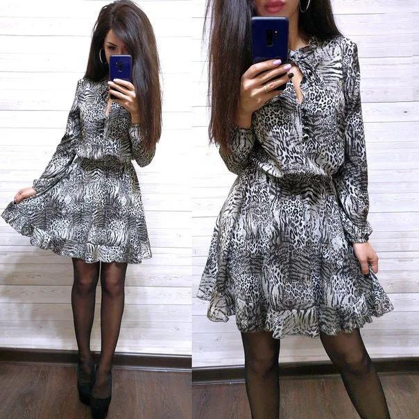 Платье свободное с леопардовым принтом софт