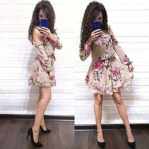 Воздушное платье с поясом и розами длинный рукав, фото 2