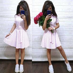 Легке прогулянкове плаття сорочка з бавовни в смужку з поясом, фото 2