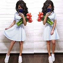 Легкое прогулочное платье рубашка из хлопка в полоску с поясом, фото 2