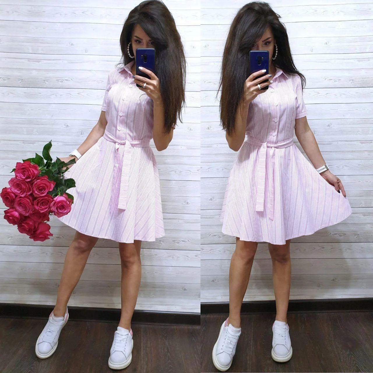 Легкое прогулочное платье рубашка из хлопка в полоску с поясом