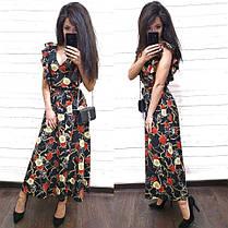 Платье летнее свободное с декольте цветочный принт, фото 2