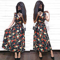 Платье летнее свободное с декольте цветочный принт, фото 3