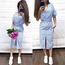 Стильное летнее платье в полоску из хлопка с разрезом, фото 2