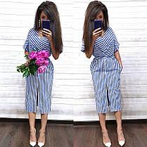 Стильное летнее платье в полоску из хлопка с разрезом, фото 3
