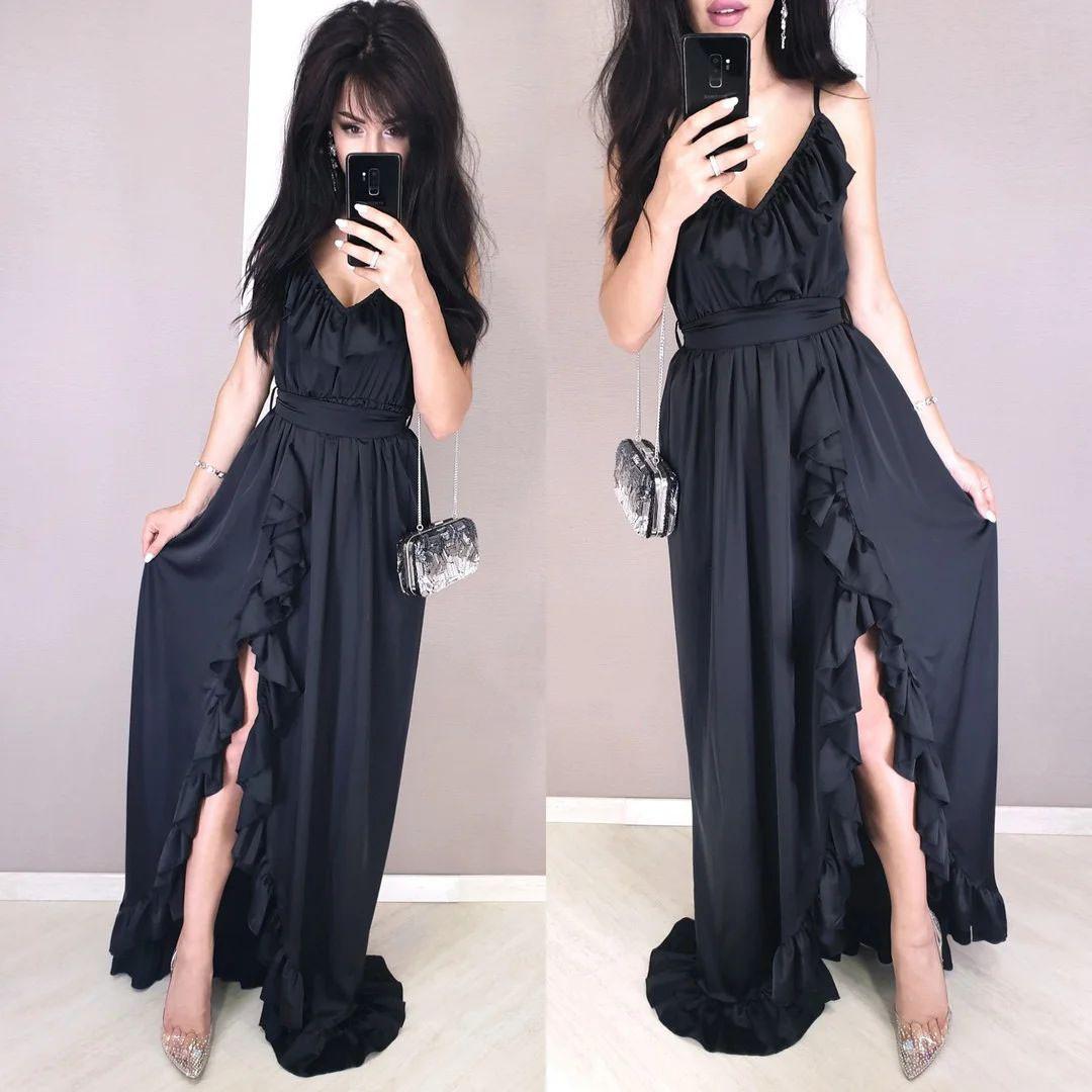 Стильне шовкове плаття в підлогу з рюшами і поясом