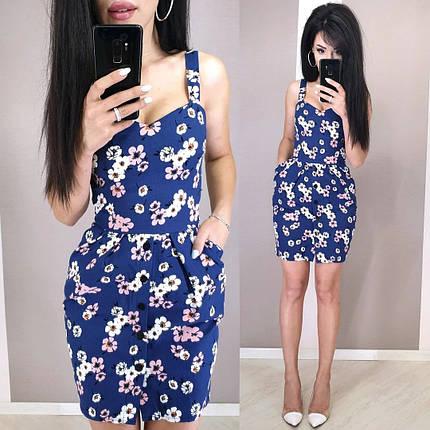 Короткое летнее платье из льна с завышенной талией на бретельках, фото 2