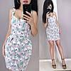 Короткое летнее платье из льна с завышенной талией на бретельках, фото 3