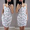 Короткое летнее платье из льна с завышенной талией на бретельках, фото 4