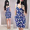 Короткое летнее платье из льна с завышенной талией на бретельках, фото 5