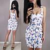 Короткое летнее платье из льна с завышенной талией на бретельках, фото 6