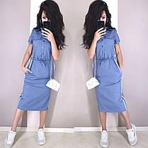 Стильне плаття на гудзиках вільного крою з кишенями і поясом ХБ, фото 2