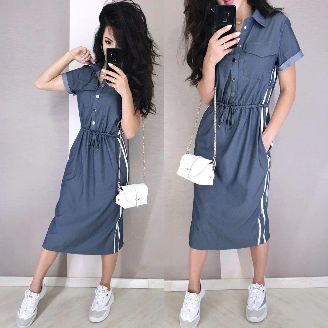 Стильне плаття на гудзиках вільного крою з кишенями і поясом ХБ