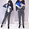 Стильный теплый костюм тёплый на флисе с капюшоном на молнии, фото 3