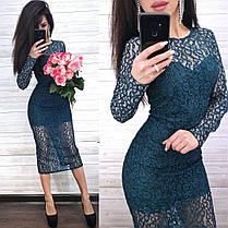 Шикарное нарядное платье из кружева ниже колена, фото 3