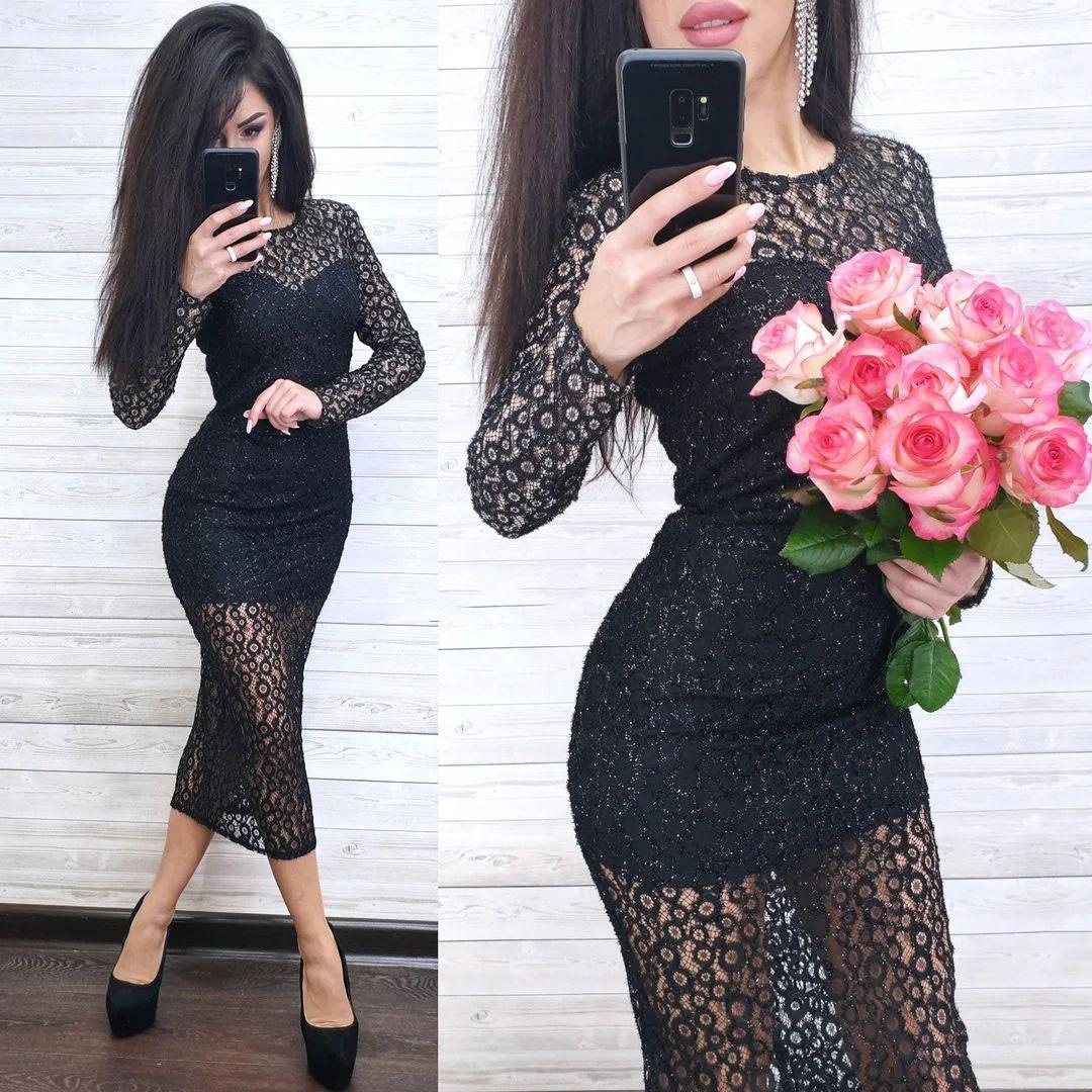 Шикарное нарядное платье из кружева ниже колена