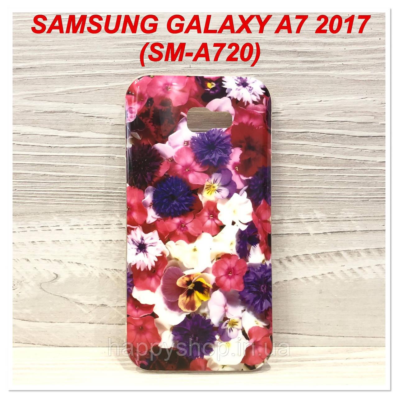 Оригінальний силіконовий чохол Soft touch для Samsung Galaxy A7 2017 (A720) (Pink)
