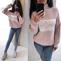 Теплый свитер снежинка машинная вязка шерсть, фото 3