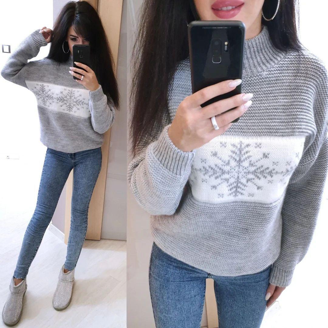 Теплый свитер снежинка машинная вязка шерсть