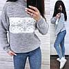 Теплый свитер снежинка машинная вязка шерсть, фото 2