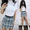 Костюм гольф с коротким рукавом и юбка мини в клетку, фото 4