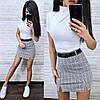 Костюм гольф с коротким рукавом и юбка мини в клетку, фото 6