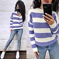 Теплый женский вязаный свитер в полоску шерсть, фото 3