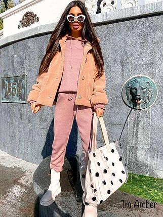 Модная короткая пушистая теплая шубка, фото 2