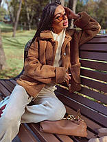 Модная короткая пушистая теплая шубка, фото 3