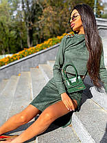 Костюм юбка с разрезом и кофта с рукавами замша, фото 2
