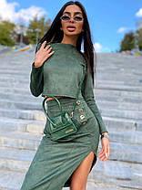 Костюм юбка с разрезом и кофта с рукавами замша, фото 3