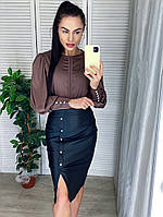 Женская кожаная юбка карандаш, фото 1
