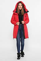 Качественная красная женская зимняя куртка на био пух удлиненная 42 44 46 48 50
