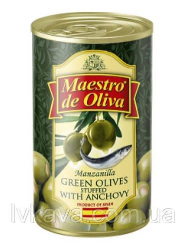 Оливки зеленые с анчоусом  Maestro de Oliva  , 280  гр