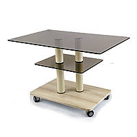 Журнальный столик на колесиках стекло прямоугольный Commus Bravo Max P bb-pepel-2bg60