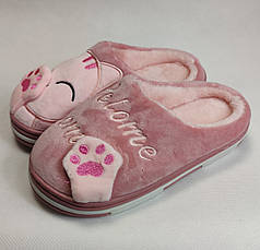 Детские тапочки тапки теплые комнатные для дома девочки домашние розовые котики 32/33р 19.5-20см