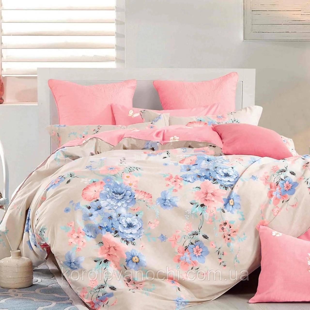 """Полуторный комплект (Бязь)   Постельное белье от производителя """"Королева Ночи""""   Цветы на бежевом и розовом"""