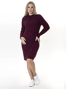 Тепле в'язане плаття Irvik PL548B бордо