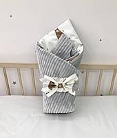 Плед на выписку из роддома, плед-конверт с плюшем