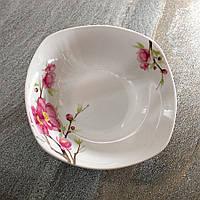 Квадратный белый салатник с сакурой 18 см Сакура (4371)