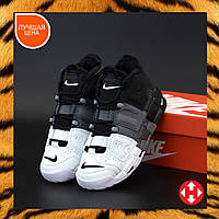 Ботинки кроссовки мужские зимние Nike Air Max Uptempo черные с белым кожаные кожа на меху меховые