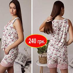 Пижама женская шорты и майка с розовым кружевом Nicoletta, Размер  M, L