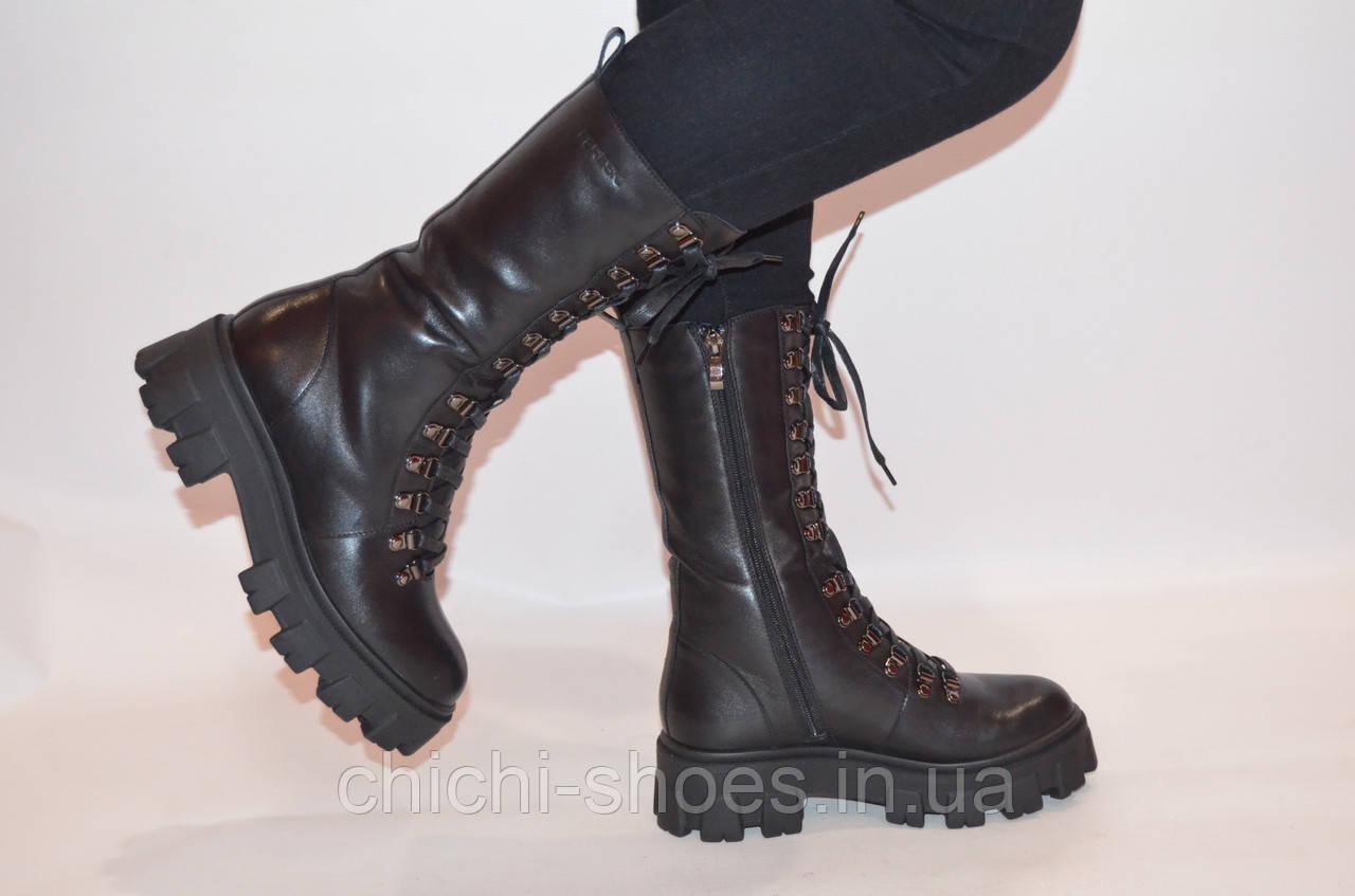 Ботинки женкие зимние чёрные кожаные Fereski1273-23 размеры 37,38
