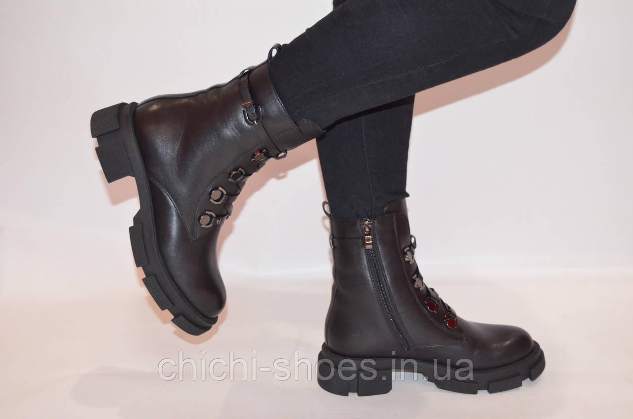 Ботинки женские зимние чёрные кожаные Fereski 1201-201