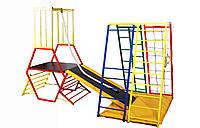 Детский спортивный двойной Комплекс-уголок для дома, улицы: горка из фанеры с мягкими бортиками, рукоход 62185
