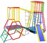 Детский спортивный двойной Комплекс-уголок для дома и улицы: 2 горки, деревянные качели и кольца, канат 62200